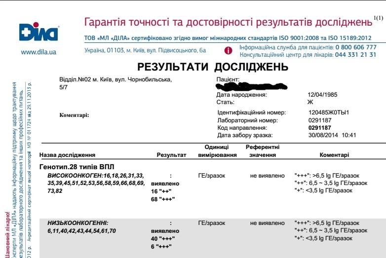Расшифровка результаты анализов на вирус папилломы человека фото