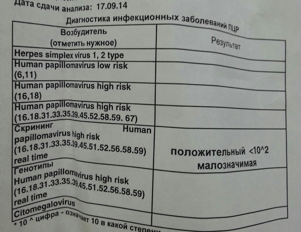 Анализ вирус папилломы человека расшифровка фото
