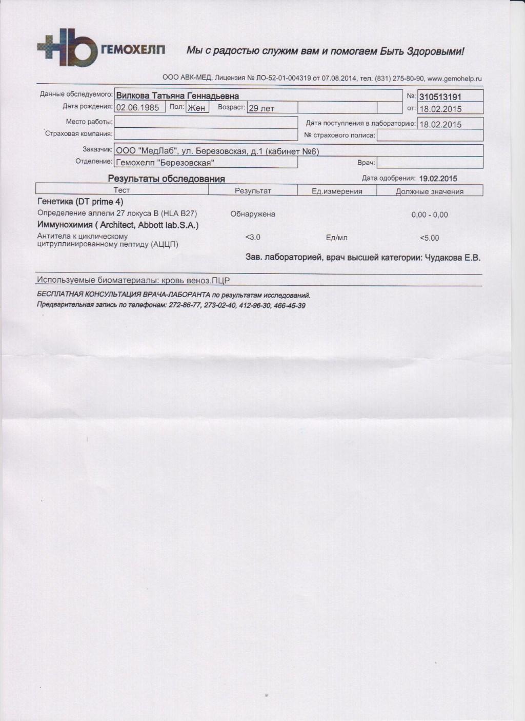 Анализ крови hla-b27 расшифровка Справка от фтизиатра Яузская аллея
