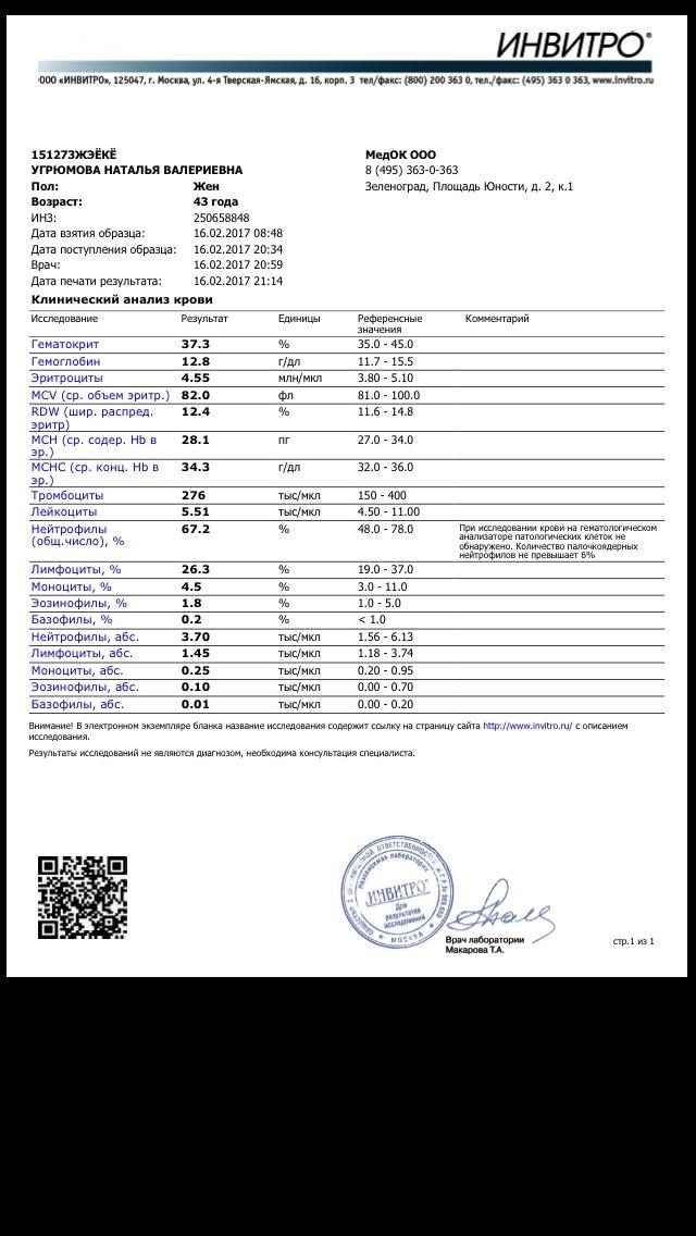 Анализа инвитро срок изготовления крови общего анализ крови клинический таблица общий