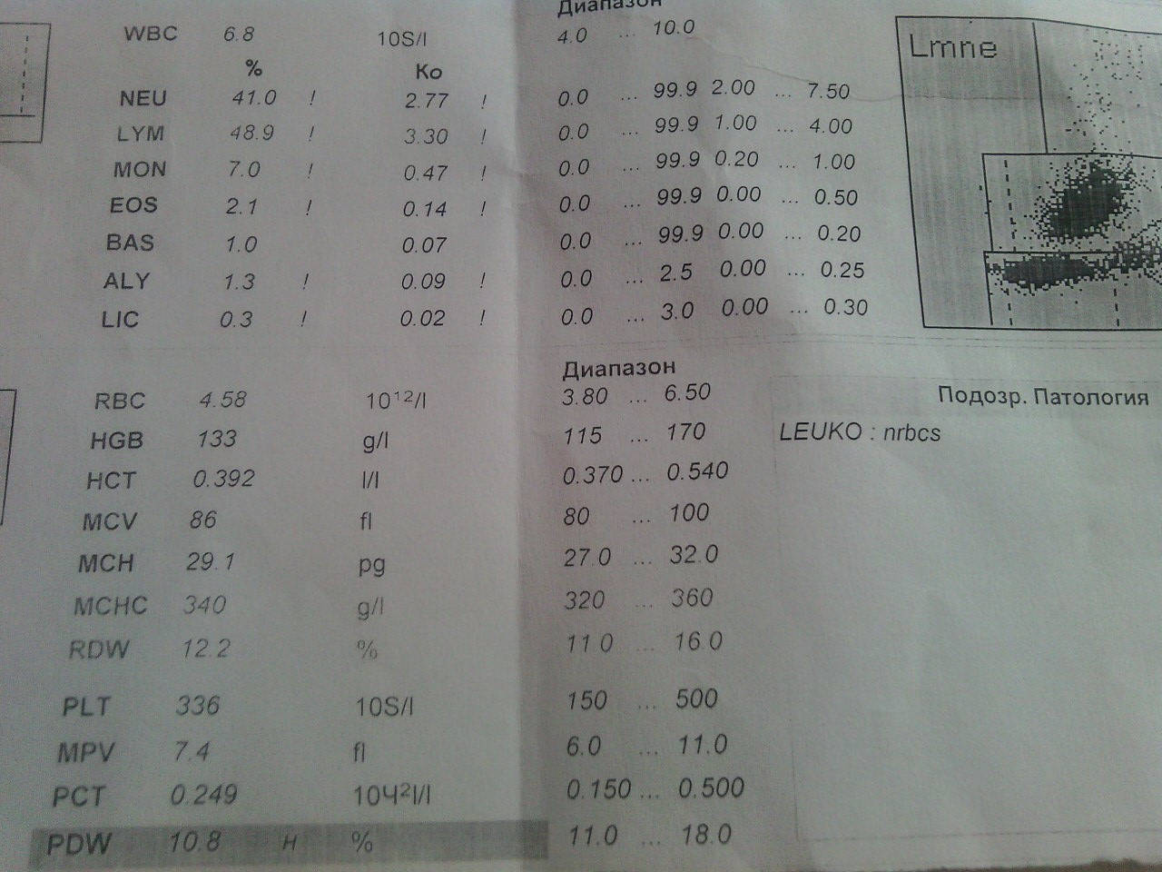 Leuco nrbcs в анализе крови потеряла открытый больничный лист